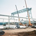 75 ton, double girder full gantry crane with 127' span. CRS also supplied the free standing runway system for this crane.