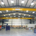 3 ton top running single girder crane, 70' span installed in a food processing equipment manufacturing facility